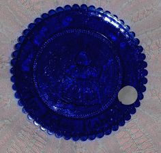 Vtg Cobalt Blue Glass Cup Plate Mrs. Peter Rabbit Pairpoint Sapphire Bunny Dish