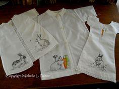 Petals & Palettes Copyright Michelle L. Palmer original pen and ink illustrations on vintage doll clothes dresses