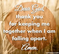 Dear God, thank you for keeping me together when I am falling apart. - Amen
