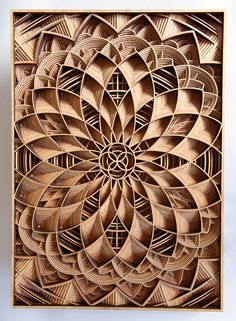 Oakland based artist Gabriel Schama loves to work with wood and precision cutting laser. He creates amazing densely layered wood relief sculptures that sometimes twist, sometimes intersect and overlap each other to create a mandala-like forms and pieces Laser Cut Wood, Laser Cutting, Wood Trellis, Laser Cutter Projects, Wood Mantle, Chip Carving, Carving Designs, Wood Working For Beginners, Wooden Art