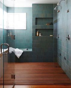 Best Master Bathroom Design Ideas For Your Big Home . modern green tile and wood slat floor in large master bathroom shower modern shaker beach house tour on coco kelley Master Bathroom Shower, Shower Niche, Shower Floor, Small Bathroom, Bathroom Ideas, Wood In Bathroom, Remodled Bathrooms, Serene Bathroom, Bathroom Niche