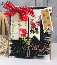 ~ friends ~ - Scrapbook.com - Love the swiped chalkboard paint on this card!