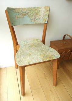 decoupage vintage map to an old chair