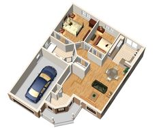 Traditional Style House Plan - 2 Beds 1 Baths 910 Sq/Ft Plan #25-4442 Floor Plan - Main Floor Plan - Houseplans.com