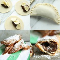 Your new favorite dessert, fried banana Nutella hand pies, except instead of bananas lets do strawberries or something! Just Desserts, Delicious Desserts, Dessert Recipes, Yummy Food, Yummy Yummy, Delish, Banana Com Chocolate, Banana Pie, Banana Crepes