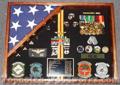 This 18x24H Military Shadow Box is the perfect way to display your flag and all your military memorabilia.Available in either Red Oak, Walnut or Cherry.