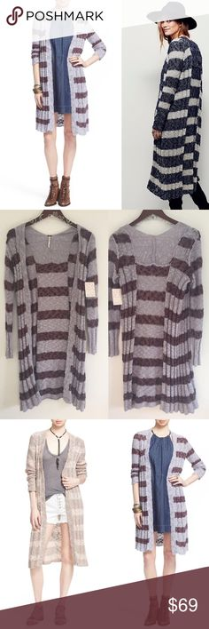 """Free People Free Spirit Striped Cardigan Size XS NWT and in excellent condition. Sweater is a lavender purple combo. Have other colors as style inspiration! Great Leigh's weight cotton/linen mix! 39""""'long comes to my knee and I am 5'5 and 20"""" bust. Open front with long sleeves. All over Bouce Knit construction. Perfect for the winter or fall and with jeans or a skit! No trades offers welcome! Free People Sweaters Cardigans"""