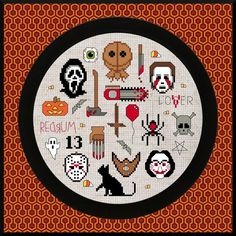 """Horror Movie Collage"" counted cross-stitch pattern by xStitch Craft. Cross Stitch Beginner, Mini Cross Stitch, Cross Stitch Fabric, Cross Stitching, Cross Stitch Embroidery, Cross Stitch Designs, Cross Stitch Patterns, Halloween Cross Stitches, Unicorn Crafts"