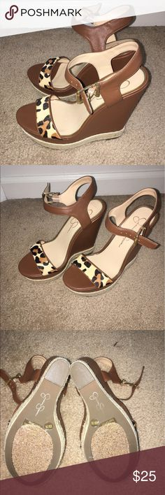 Jessica Simpson wedges Beautiful cognac/cheetah wedges never worn out before Jessica Simpson Shoes Wedges