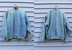 Vintage Vtg Vg 1990's 90's 1980's 80's Light Denim Jacket Jean Jacket Distressed Hipster Euro Western Bomber Jacket by DAX Size Large Men's by foxandfawns on Etsy