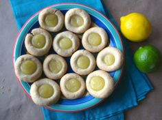 Lemon Lime Thumbprint Cookies (filled with homemade lemon-lime curd).
