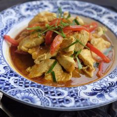 Papaya and Chicken Curry.  Can be whipped up in less than half an hour