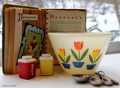 Vintage Kitchen Goodies - My Mom had a mixing bowl identical to the one with the tulip design in the picture.