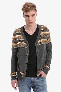 Men's Gray Vintage Cardigan