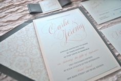 Dusty Rose and Dark Grey Wedding Invitation by OuttheBoxCreative