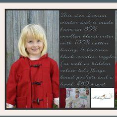 #ladybird2turtle #pinadayoct #wool $70.00 Girls wool coat by MelisaJane on Handmade Australia
