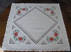 Beautiful Hardanger Embroidered Tablecloth Poppies New 100 Handmade | eBay