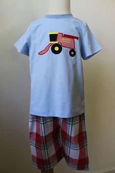 "Now available on our store: ""Papa Marshall"" B... Check it out here! http://www.thebubblebee.com/products/papa-marshall-boys-combine-harvester-shirt-pants-set"