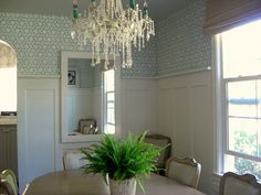 dining room, Benjamin Moore Palladian Blue, white, wainscoating, stencil from oliveleafstencils.com resembles Manuel Canovas wallpaper