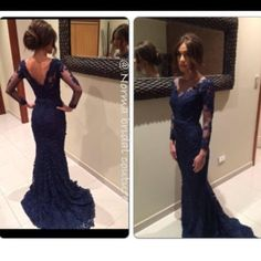 New Arrival Elegant Sheer Scoop Sheath Long Sexy Backless Long Sleeves Navy Blue Lace Evening Dress