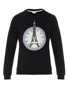 Kenzo pays homage to its hometown with this black cotton-jersey sweatshirt. It's detailed with a front white logo-appliqué patch with bold Eiffel Tower embroidery and a French-terry trim. | Available at MATCHESFASHION.COM