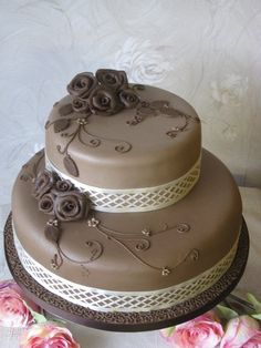 Coffee and Chocolate  Roses Wedding Cake