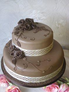Coffee and Chocolate  Roses Wedding Cake