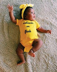 Melanin on fleek yellow onesie by WorldwideBaby on Etsy