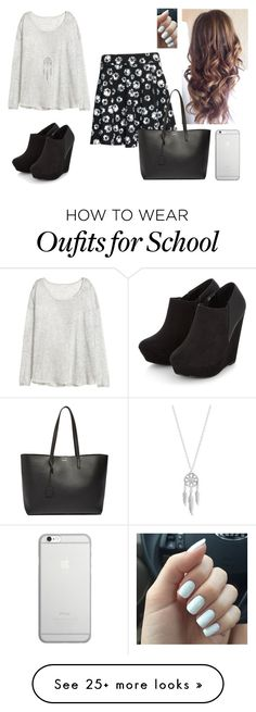 """""""Untitled #2569"""" by hannahmcpherson12 on Polyvore featuring H&M, Yves Saint Laurent, Native Union and Lucky Brand"""