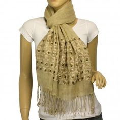 Linen Fashion Hand Embroidered Flowers and Rivets Tassels Ends Long Scarf Shawl