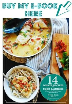 """If you are on a diet, have multiple food allergies, EOE, or any other restricted diet, you NEED my Dinner Recipes for Food Allergies"""" e-book! Chicken Enchilada Pasta, Lemon Chicken Pasta, Creamy Lemon Chicken, Gluten Free Pasta, Vegan Gluten Free, Dairy Free Frittata, Dairy Free Cream, Wild Rice Soup, Winter Soups"""