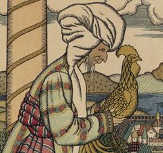[Skazka o zolotom petouchke (conte du Coq d'or)] / [Pouchkine] ; [illustrations d'Ivan Bilibin]   Gallica