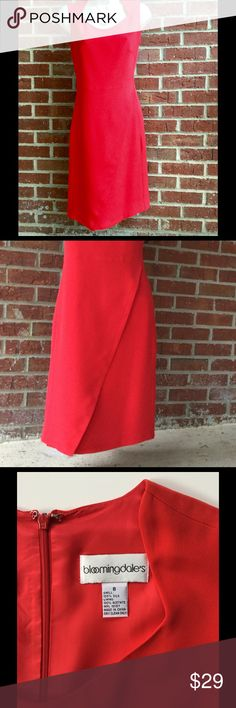 ❤Bloomingdale's Silk Dress❤ Stunning red silk dress with a gorgeous neckline!  Beautiful detail from the waist to the hemline. Worn one time to a wedding. Timeless Elegance from Bloomingdale's! Bloomingdale's Dresses