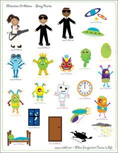 CreKid.com - FREE Story Rocks Printouts - Monsters and Alien Story Rocks - Spark your child's imagination and creativity. Preschool - Pre K - Kindergarten - 1st Grade - 2nd Grade - 3rd Grade. www.crekid.com