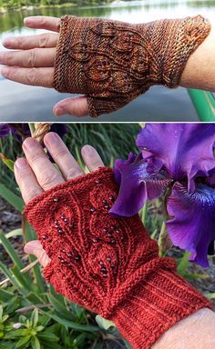 Free Knitting Pattern for Grandifolia Fingerless Mitts - Handwarmers featuring leaf lace on the top and at the cuff. 3 sizes. Fingering weight yarn. Designed by Vickie Hartog. Pictured projects by the designer and DKlee who added beads and changed the cuff to ribbing.