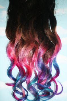 Pastel Tie Dye Tip Extensions, Dark Brown/Black, 22 inches long, Clip In Hair Extensions, Hippie Hair, Dip Dyed Tips. $112.00, via Etsy.
