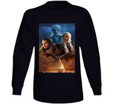 Daenerys Targaryen Jon Snow And The Night King Long Sleeve Night King, Graphic Sweatshirt, T Shirt, Gifts For Friends, Jon Snow, Sleeve Styles, Tv Series, Daenerys Targaryen, Sweatshirts