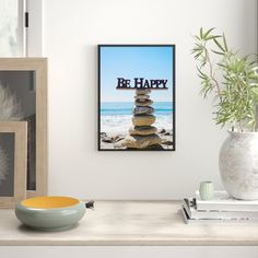 Be Happy Stone Tower Framed Photographic Art Print East Urban Home Size: 100 cm H x 70 cm W Time In Germany, Beach Frame, What Is A Shadow, Traditional Frames, Thing 1, Mdf Frame, Empty Wall, Frame Sizes, Framing Materials