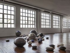 Noguchi museum, museum of stones exhibit. 'Dry Riverbed' by Toshiko Takaezu from 1980.