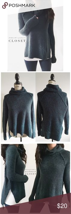 """Dark Green & Black Fuzzy Knit Cowl Sweater This sweater has a stretchy & fuzzy knit with a dark green & black woven together. The sides have high slits with a lower fitting backside & a cowl neck {actual color of item may vary slightly from pics}  *chest:22.5"""" *waist:21.5"""" *length:22""""/26"""" *sleeves:29"""" *material/care:51%acrylic43%nylon6%spandex/machine wash  *fit:could work for med too/stretchy *condition:good/newer no rips/stains/pilling   🌸20% off bundles of 3/more items 🌸No Trades  🌸NO…"""