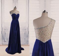 One Shoulder Royal Blue Backless Prom Dresses With AB Stones,Sexy Open Back Chiffon Evening Gowns