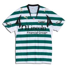 Green and white hoops Puma-style Eagles soccer jersey.