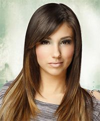 Slick and smooth is what this long hairstyle is about. The length and layers are blow-dried smooth showing off the jagged cut layers through the sides and back allowing the lighter colors to seep through the darker. This look is perfect for any occasion and will need regular trims every 4-6 weeks to prevent split ends.
