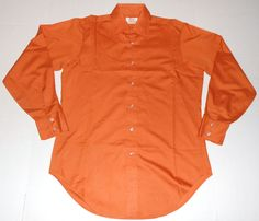 Vintage ARROW Sanforized Kent Collection Decton Orange Shirt 15-33 Made in USA #Arrow
