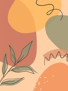 Artistic modern illustration with organic shapes,leaves and graphic elements
