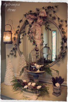 Holiday Decorating birdcage / home decor bird cage. Click pic for lots of great ideas! :)