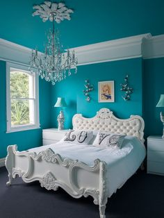 Bedroom Ideas, Charming Eclectic Bedroom Interior Ideas With Turquoise Wall Paint Color Also White Classic Bedframe And Gorgeous Pendant Lamp Also White Modern Nightstand And Traditional Windows Design Also Dark Gray Carpet: Mesmerizing and Suitable Bedroom Ideas for Men and Women