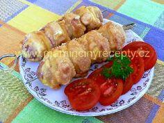 Rohlíkové špízy Shrimp, Sausage, Recipies, Food And Drink, Pizza, Menu, Homemade, Chicken, Czech Food