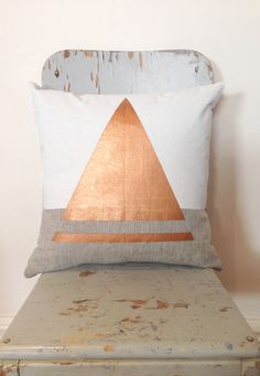 ○°•●[[Copper Sailor - Artsy and beautiful, ethically made throw cushion, in metallic copper, and white on linen, for your home. ]]●•°○