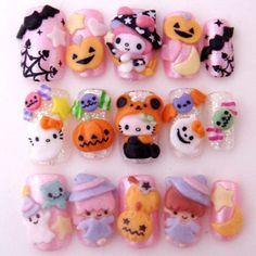 Adorable Sanrio Halloween nails